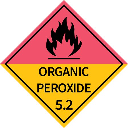 Organic peroxides sign. Dangerous goods placards class 5.2. Perfect for transport vehicles, backgrounds, backdrop, sticker, label, sign, symbol and wallpapers.