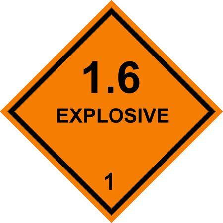 Explosive dangerous caution sign. Dangerous goods placards class 1. Black on orange background. Vecteurs