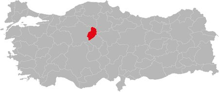 Kirikkale province highlighted on turkey map vector. Gray background.