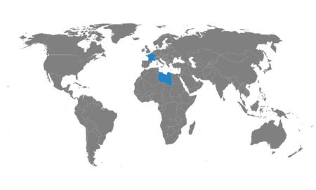 France, Libya countries highlighted on world map. Business concepts, Economic, trade relations.