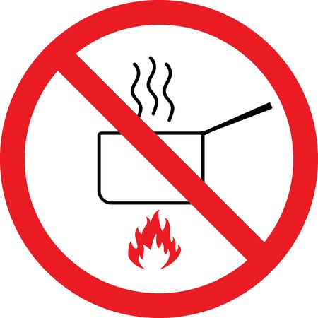 No cooking sign. Prevent fire accidents in office or industry.