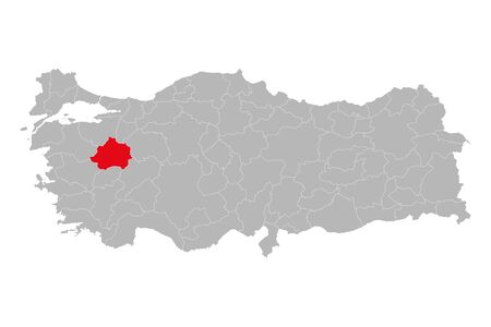 Kutahya province highlighted on turkey map vector. Gray background.