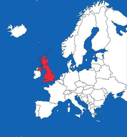 United kingdom highlighted on europe map. Blue sea background. Perfect for backgrounds, backdrop, sticker, banner, label, poster, chart and wallpaper.