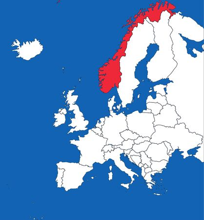 Norway map highlighted on europe map. White on blue background. Perfect for business concepts, backgrounds, backdrop, poster, sticker, banner, label and wallpaper. Vettoriali