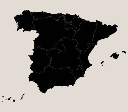 Spain region map. Black, coffee white background. Perfect for business concepts, backgrounds, backdrop, poster, sticker, banner, label and wallpaper.