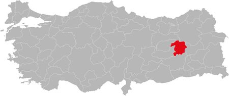 Bingol province highlighted on turkey map vector. Gray background. 일러스트