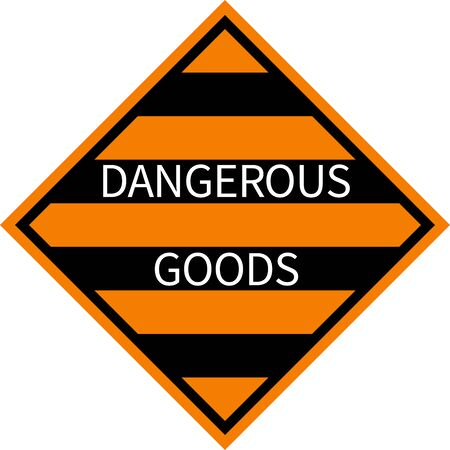 Dangerous goods sign. Black, orange stripes background. Labels and placards.