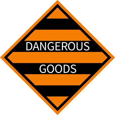 Signe de marchandises dangereuses. Fond de rayures noires et orange. Etiquettes et pancartes.