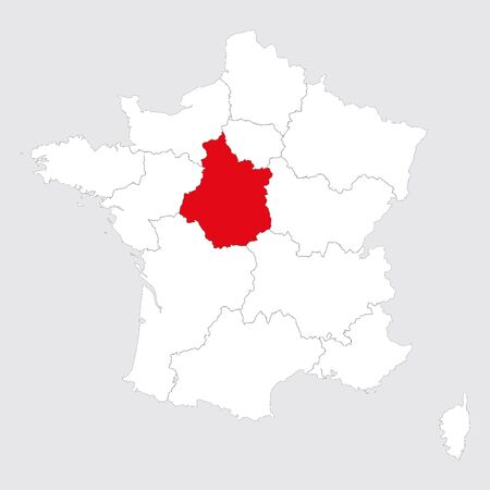 Center val de loire province highlighted red on france map. Gray background. Illustration