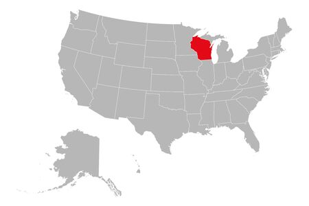Wisconsin state highlighted on USA political map vector illustration. Gray background.