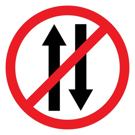 Vehicle prohibited for both direction traffic sign vector. It indicates that traffic flow is not allowed in this area. No entry traffic symbol.