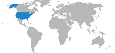 bulgaria, USA map highlighted on world map. Light gray background. Business, diplomatic, travel, trade, transport relations. 向量圖像