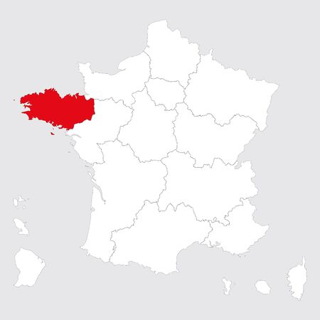 Brittany region marked red on france map vector. Gray background.