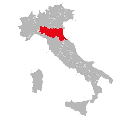Emilia romagna marked red on italy map. Gray background. Italian political map.