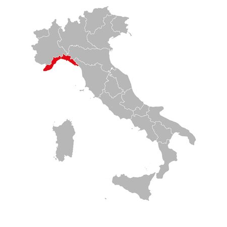 Liguria italy marked red on italy map. Gray background. Italian political map. Ilustrace