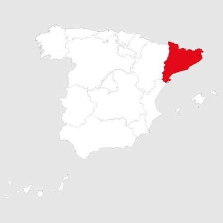 Catalonia region marked red on spain map. Gray background. Illustration