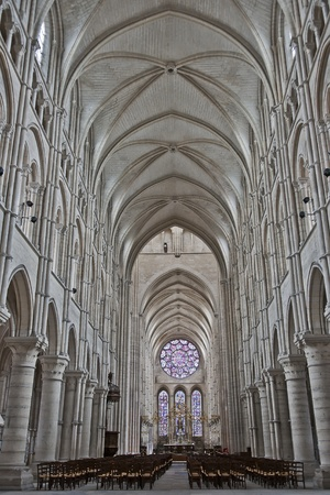 inside the cathedral of laon, town in picardy in france