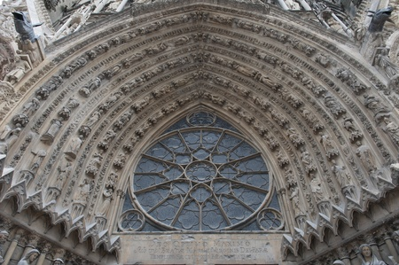 entrance to the cathedral of reims in champagne in france, where were built the kings of france