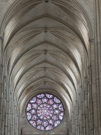 vault and rosace of laon cathedral, town in picardy in france Editorial