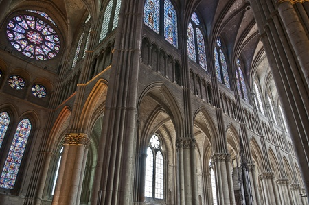 champagne region: inside of  the cathedral of reims in the champagne region in france, were built where the kings of france