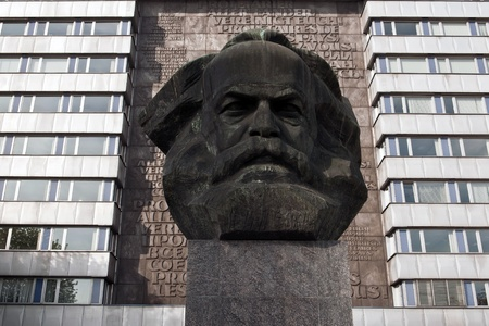 dialectic: statue of karl marx in chemnitz, germany