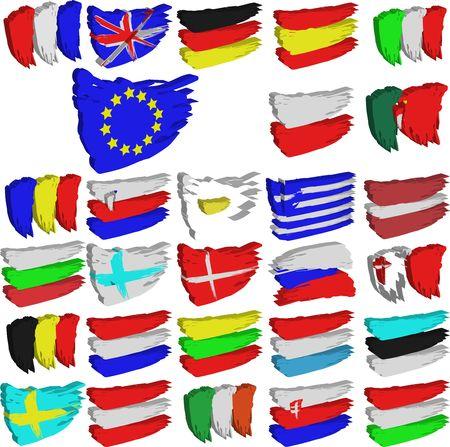 European Union brush flags photo
