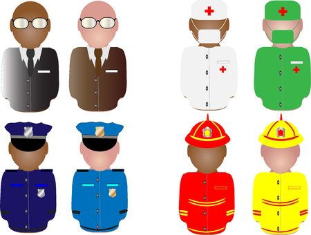 Collection of people in working uniform Stock Photo - 4574706