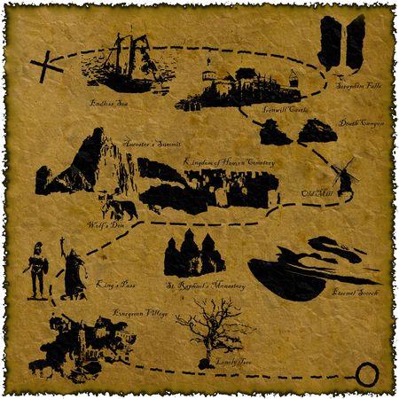 Old fantasy treasure map design