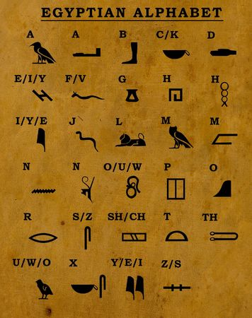 alphabet silhouette: Egyptian old alphabet on old paper Stock Photo