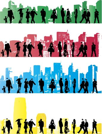Collection of city people in urban backgrounds photo