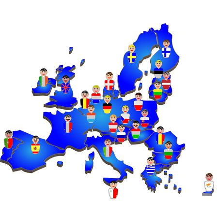 european community: European Union map, flags and people