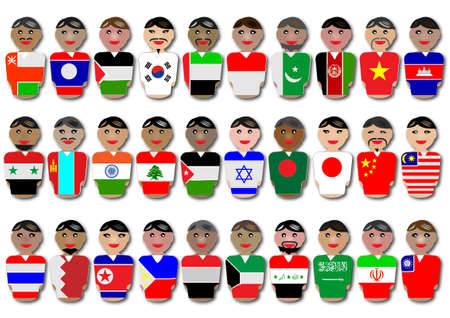 israel people: Representative people from Asia dressed in their national flags