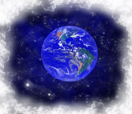 Earth globe with clouds and stars photo