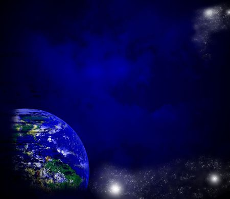 Cosmic background with globe and stars photo