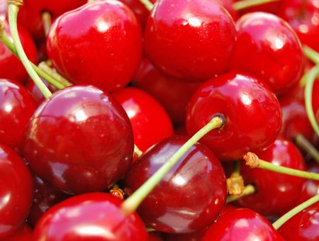 Macro shot of ripe cherries  photo