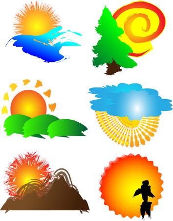 Sun logo image set Stock Vector - 5588122