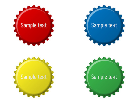 bottle cap: Four bottle cap illustration with sample text