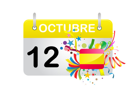 opening party: Holiday Calendar SPAIN National Day  Illustration