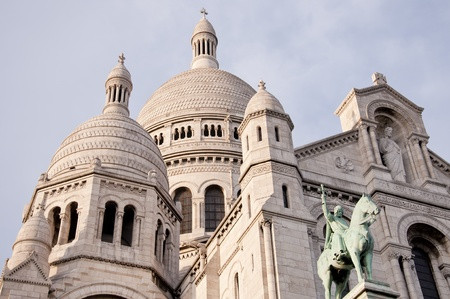 sacred heart: View of the white Sacre Coeur in Paris Stock Photo