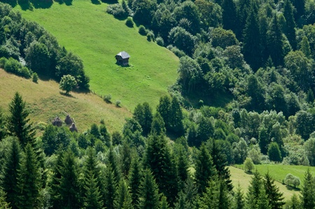 Countryside image from rural Romania with cabin and pastures in the forest photo