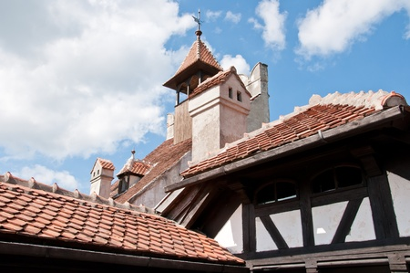 Architecture detaila at the castle of Dracula in Romania. Bran castle in Romania
