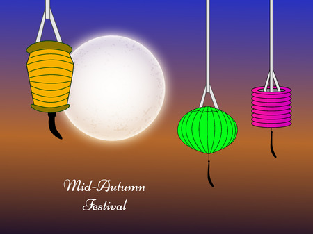 Illustration of hanging lamps for Mid-Autumn festival Illustration