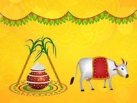 Illustration of background for Pongal Stock Illustratie