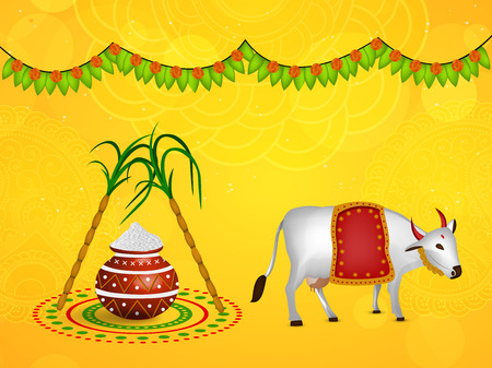 Illustration of background for Pongal  イラスト・ベクター素材