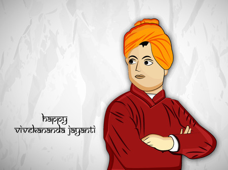 Illustration of Swami Vivekanada for Vivekanada Jayanti Illustration
