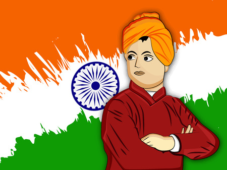 Illustration of Swami Vivekananda for Vivekananda Jayanti or National Youth Day