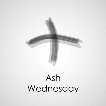 Ilustración de cenizas cruz sobre un fondo blanco para el Miércoles de Ceniza Foto de archivo - 69676319