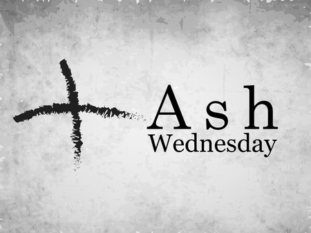 Illustratie van as kruis op een witte achtergrond voor Aswoensdag