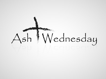 wednesday: Illustration of ashes cross on a white background for Ash Wednesday