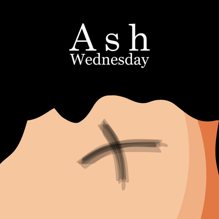 Illustration of ashes cross on a white background for Ash Wednesday Vektoros illusztráció